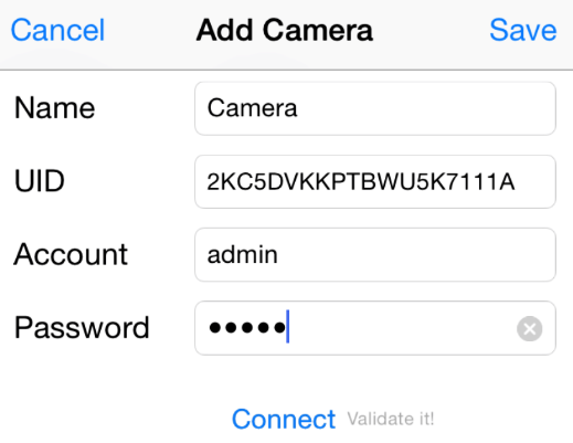 Enter camera password